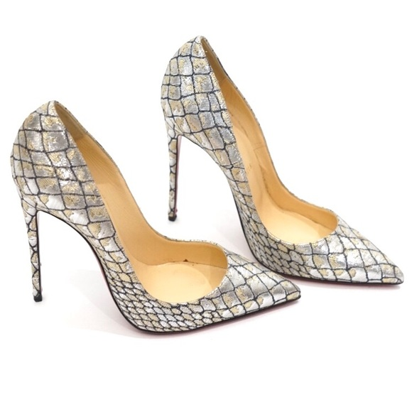 ec82a44f6fa Christian Louboutin Metallic Croc So Kate Heels